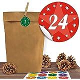 """24 Kraftpapiertüten mit 24 weihnachtlichen Aufklebern """"Kindermotive"""" zum Verschließen als Weihnachts-Geschenktüte zum Basteln und Befüllen"""