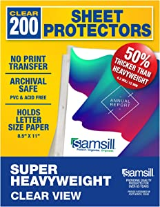 Samsill 200 Super Heavyweight Sheet Protectors, Clear Page Protectors for 3 Ring Binder, 4.7 MIL Thick Top Loading Document Protectors, Holds 10+ Sheets, Archival Safe/Acid Free, Box of 200