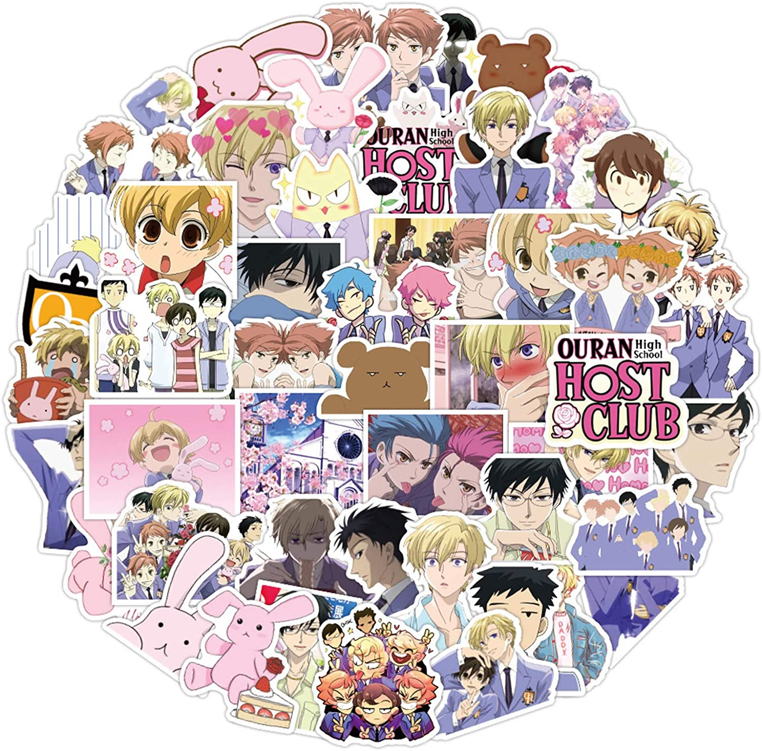 Cute Anime Stickers for Water Bottle(50pcs Pack), Cool Vinyl Decal for Teen Girl Laptop Luggage Phone, Trendy Stickers for Skateboard Travel Case Bicycle (Ouran High School Host Club)