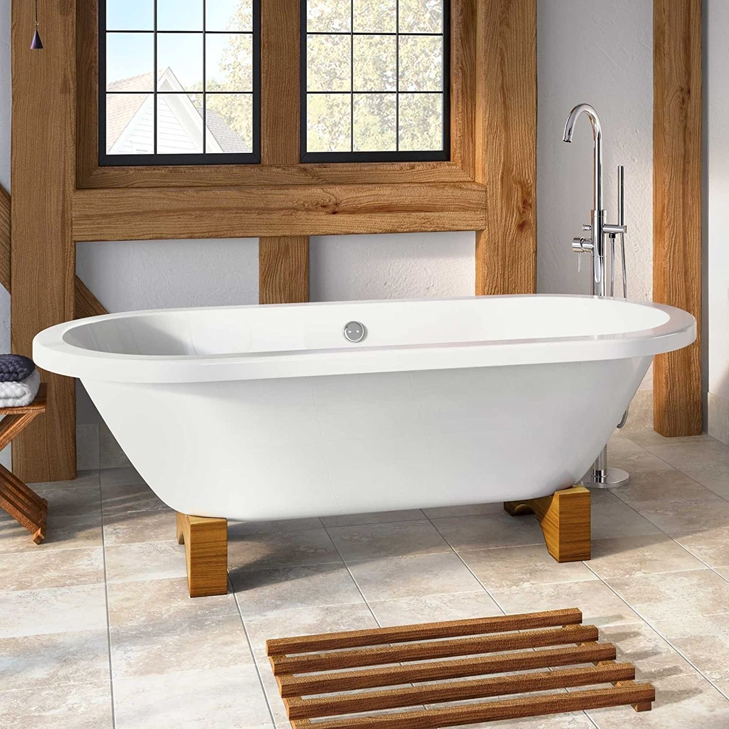 Traditional Large Roll Top Freestanding Double Ended Bath With Light