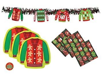 ugly christmas sweater party supplies pack banner decoration plates napkins and sticker - Ugly Christmas Sweater Party Decorations