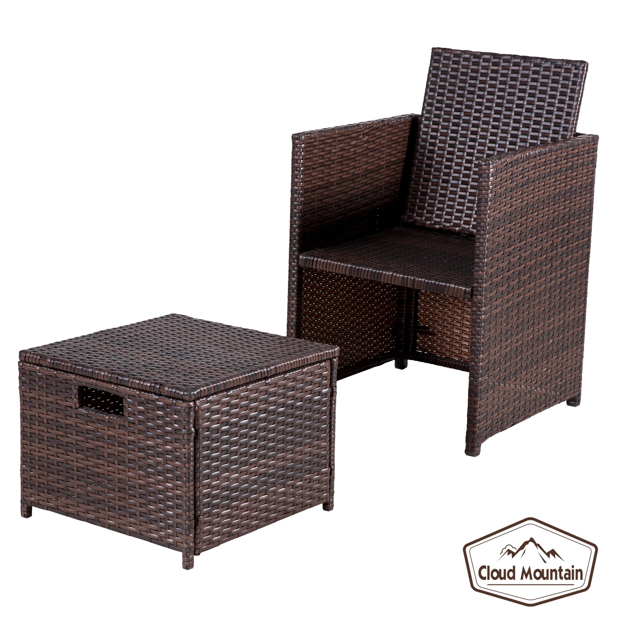 Cloud Mountain Outdoor 5 Piece Rattan Wicker Furniture Bar Set Dining Set Cushioned Patio Furniture Set Space Saving - 1 Patio Dining Table & 4 Conversation Bistro Set, Brown by Cloud Mountain (Image #9)