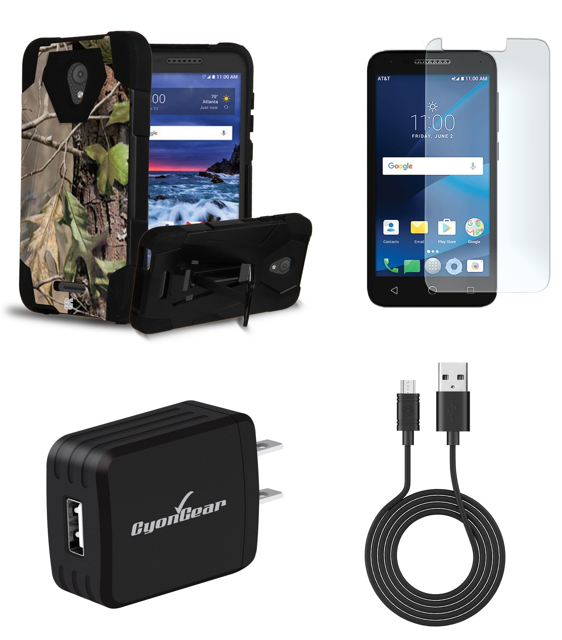 Alcatel Raven LTE | Verso | IdealXCITE | CAMEOX - Bundle: Slim [Impact Resilient] Rugged Kickstand Case - (Hunter Camo), Glass Screen Protector, 10W High Power Wall Charger, USB Cable, Atom Cloth
