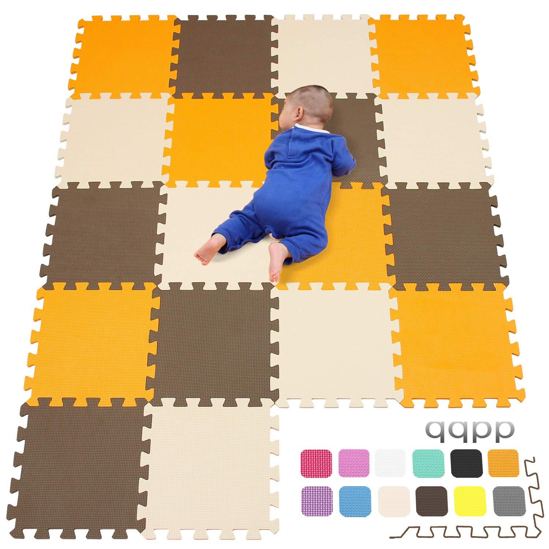 Beige.QQC-FHJb18N 18 Piezas qqpp Alfombra Puzzle para Ni/ños Bebe Infantil Verde Marr/ón 30*30*1cm Suelo de Goma EVA Suave