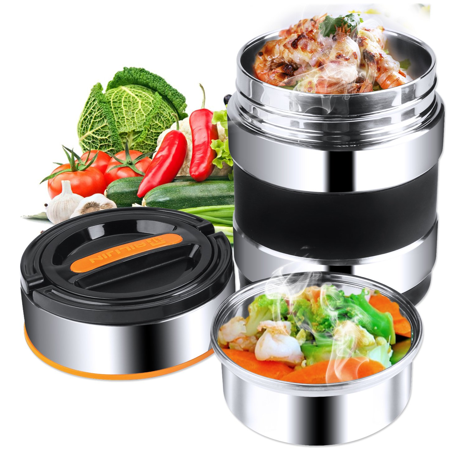 Elfhao Vacuum Insulated Stainless Steel Lunch Box Food Carrier Stainless Steel Bento Box Thermal Container Travel Hiking Camping Picnics Storage Boxes 1.4L Black