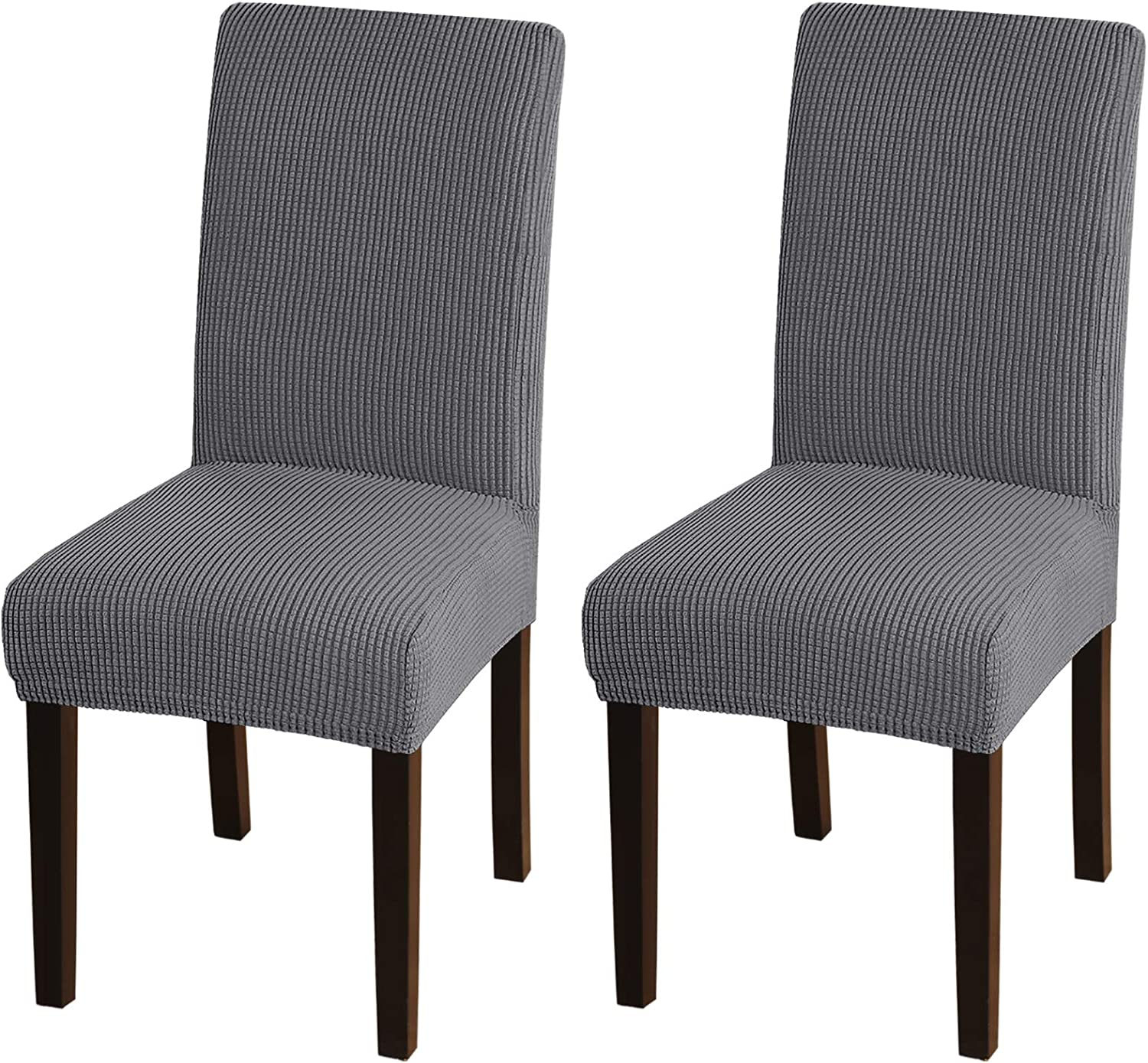 Turquoize Chair Covers for Dining Room Dining Chair Covers Set of 2 Stretch Dining Chair Slipcover Parsons Chair Covers Removable Chair Protector Covers for Dining Room, Hotel, Ceremony (2, Grey): Furniture & Decor