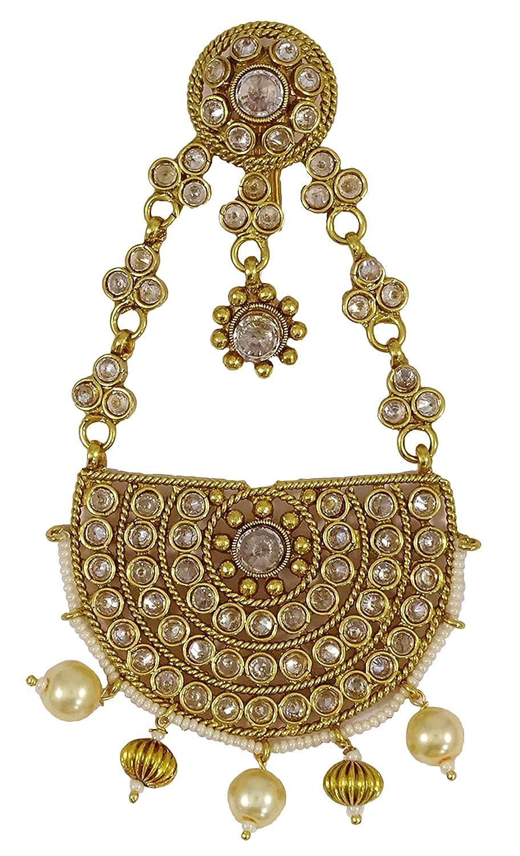 Matra Goldtone Indian Women Traditional Kundan Stone Passa Hair Accessory Jewelry