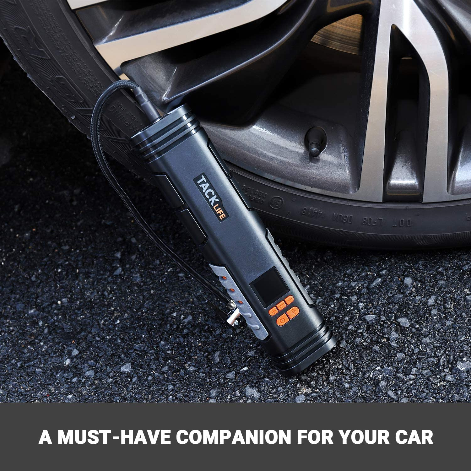 TACKLIFE X1 Rechargeable Cordless Tire Inflator Portable Air Pump with Digital Display for Car Bike Tires and Other Inflatables Handheld Air Compressor