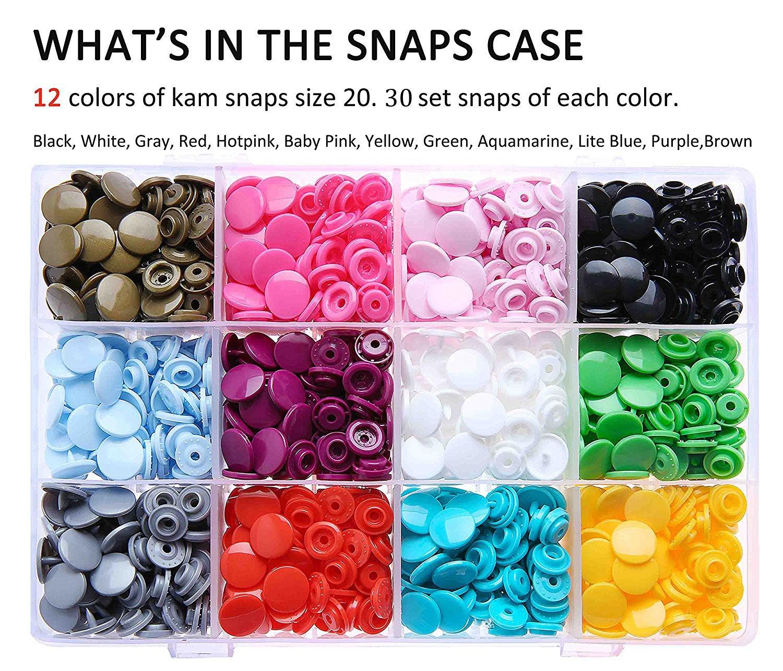 KAM Snaps Starter Kit - 360 Pairs Plastic Snap Fastener and Kam Pliers