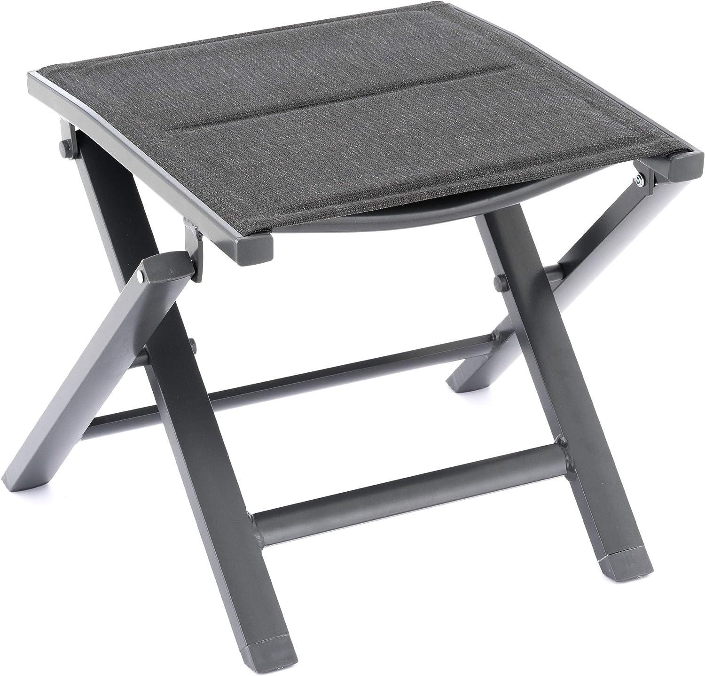 Nexos Klapphocker Sitzhocker Campinghocker Fu/ßteil aus Aluminium und Olefin grau pulverbeschichtet Rahmen grau Sitzh/öhe 38 cm f/ür Balkon Terrasse