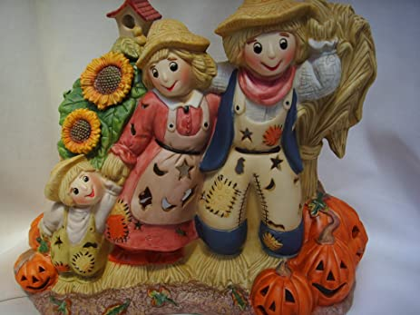 partylite halloween scarecrow tealight holder porcelain 85 fall home decor collectible