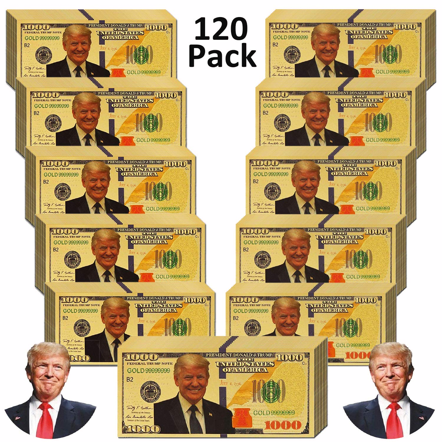LONG7INES 1000 Dollar Donald Trump Bill Banknote, One Thousand 24k Gold Coated Donald Trump Legacy Limited Edition Million Dollar Bill Great Gift for Currency Collectors and Republican (120 Pieces)