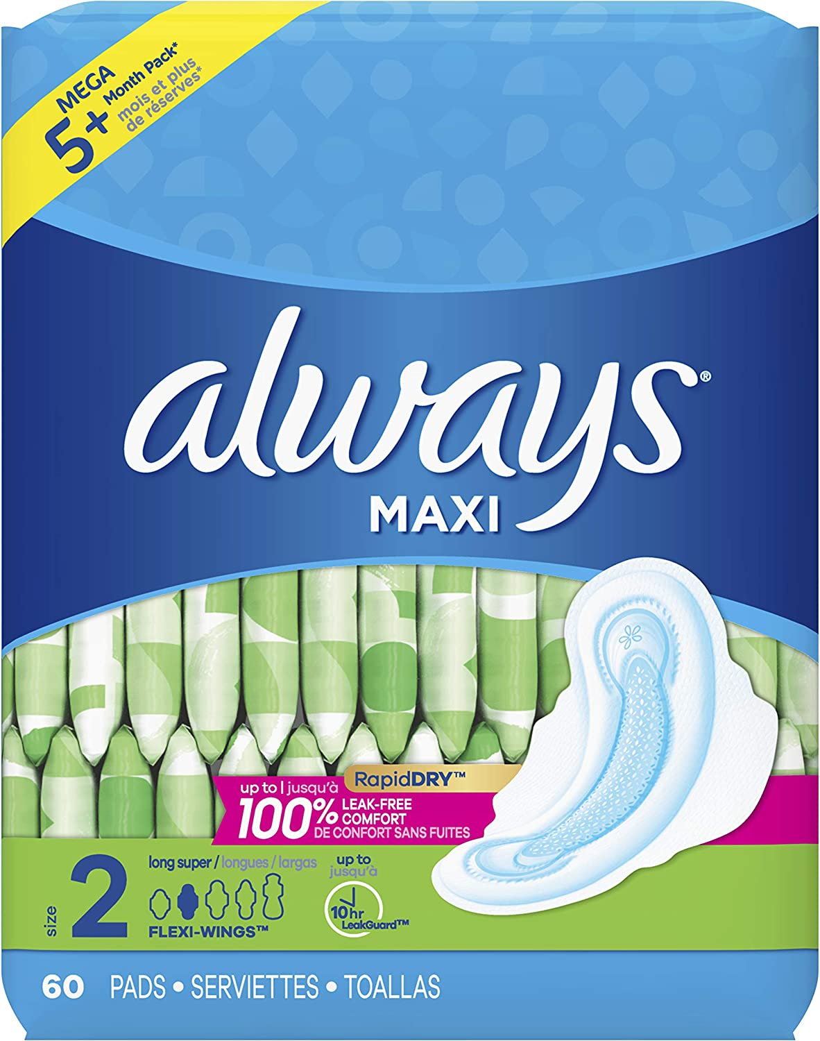 ALWAYS Maxi Size 2 Super Pads With Wings Unscented, 60 Count: Health & Personal Care