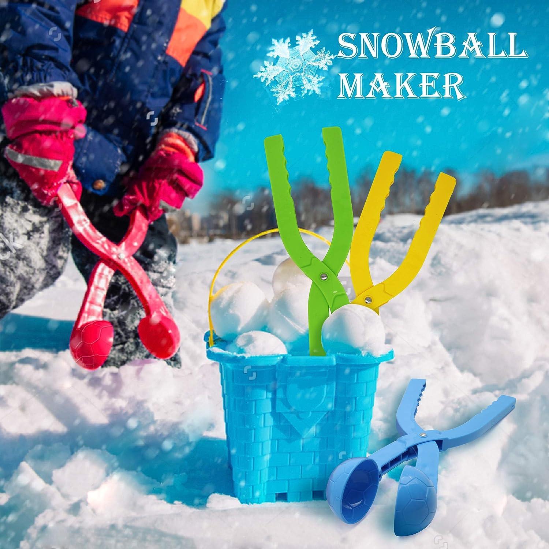 SupMLC Snowball Maker 4 Pack Snow Toys for Kids/Snow Ball Fights Kids Winter Outdoor Toys Snow Ball Clip Snow Games for Kids