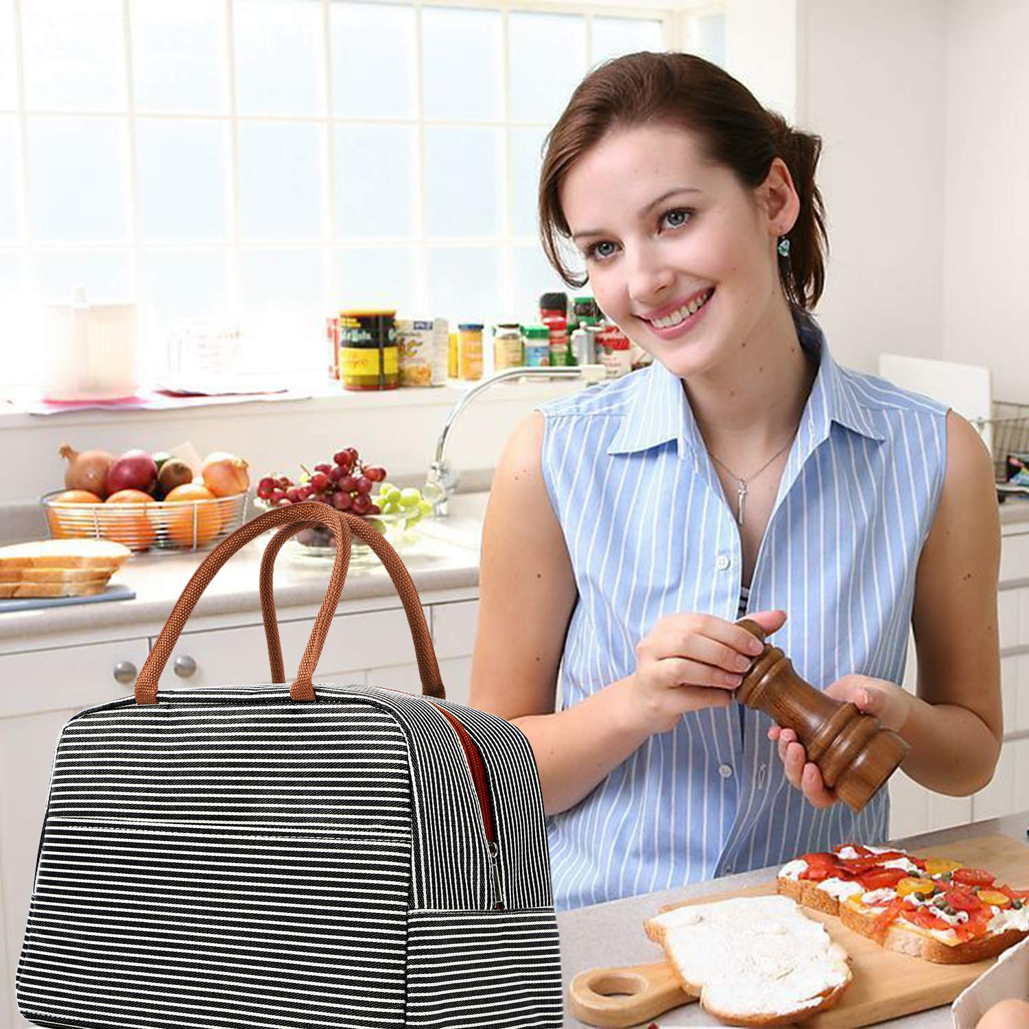 Lunch Bag Cooler Tote Bag Luch Box Lunch Container Lunch Organizer,Lunch Holder with Front Pocket Zipper Closure for Woman Man Work Pinic or Travel