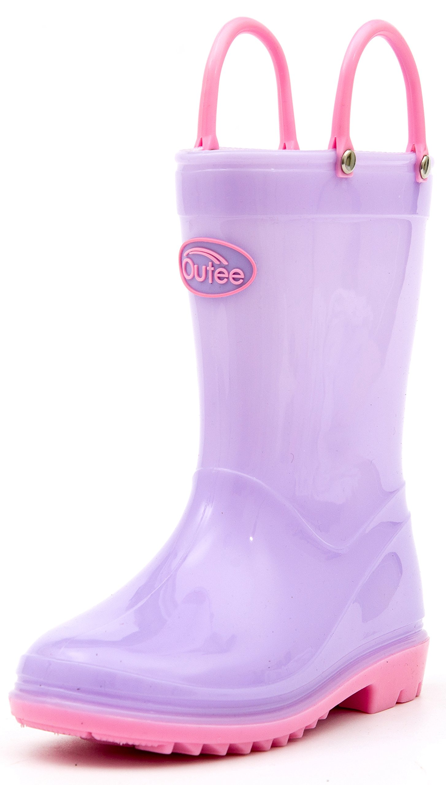 Outee Kids Toddler Boys Girls Rain Boots Waterproof Shoes Lightweight Purple Solid Cute Lovely Funny with Easy-On Handles Classic Comfortable (Size 11,Purple)