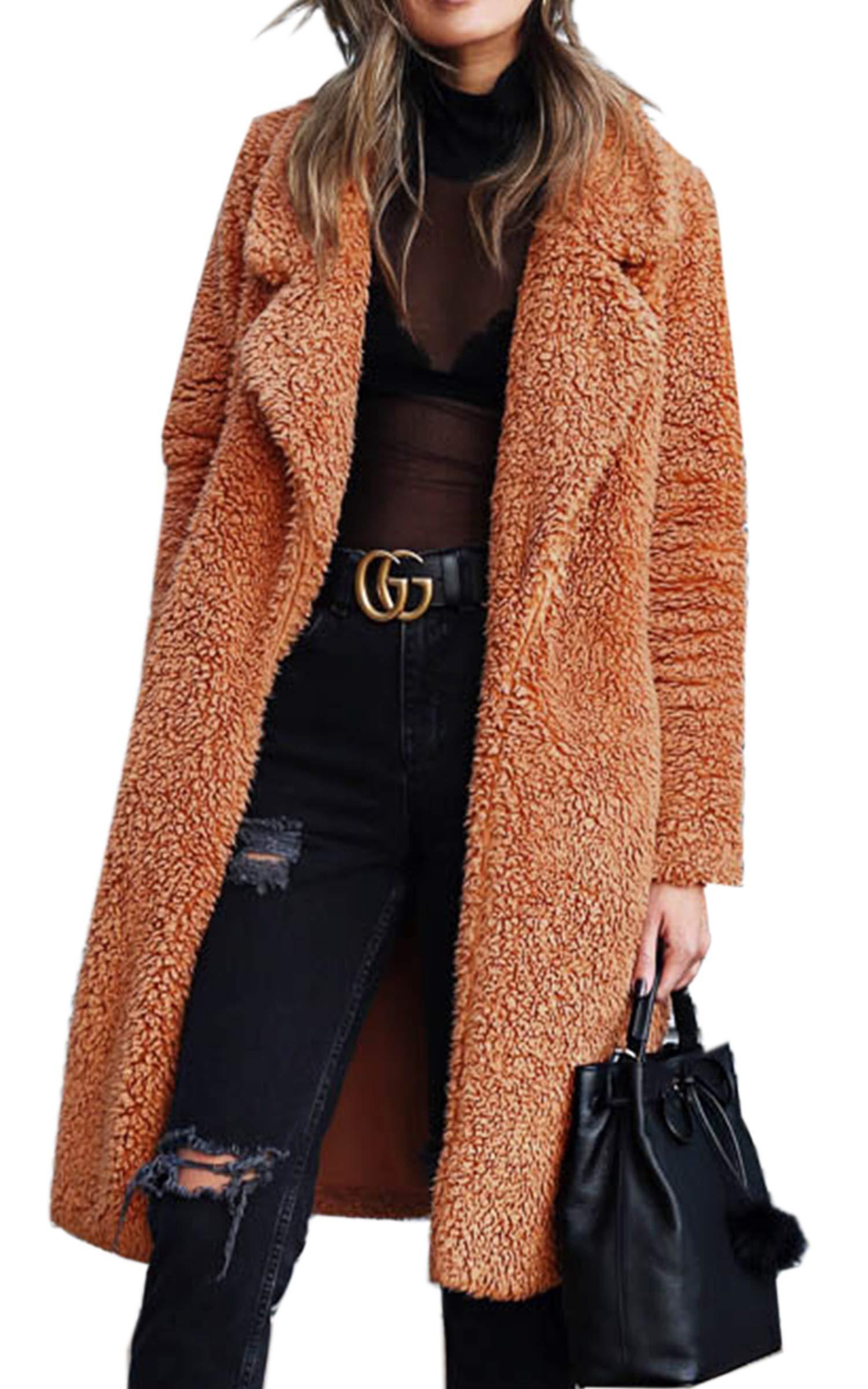 Angashion Women's Fuzzy Fleece Lapel Open Front Long Cardigan Coat Faux Fur Warm Winter Outwear Jackets with Pockets Caramel 3XL