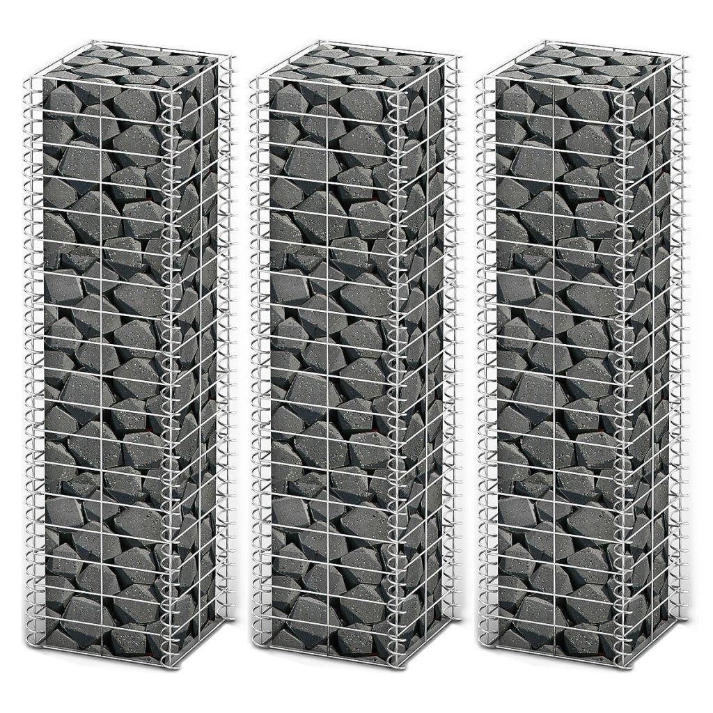 Anself 3x Steingabione Steinkorb Metallkorb 25 x 25 x 100cm aus Verzinktem Stahl