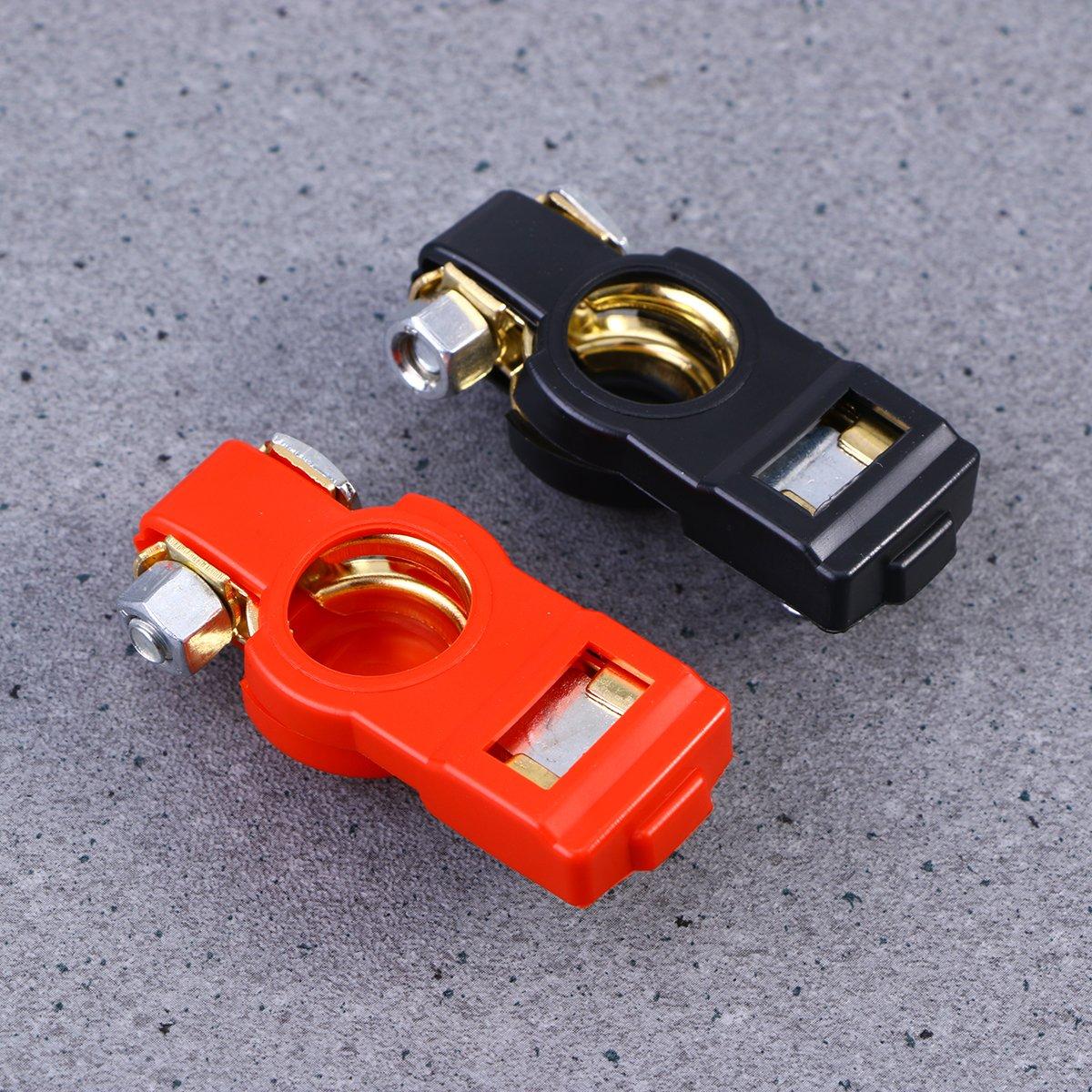 VORCOOL Connecteurs dagrafe de borne de batterie de voiture de v/éhicule dautomobile n/égative positive Taille sans plomb r/églable avec des couvertures protectrices isolantes 1 paire