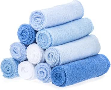 SpaSilk Washcloths, Blue, 0-36 Months, 10-Count