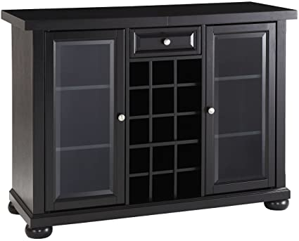 Crosley Furniture Alexandria Sliding Top Bar Cabinet   Black