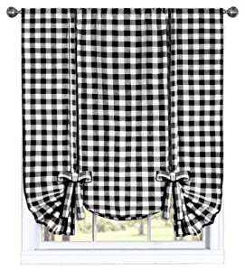 GoodGram Buffalo Check Plaid Gingham Custom Fit Window Curtain Treatments Assorted Colors, Styles & Sizes (Tie Up Shade, Black)