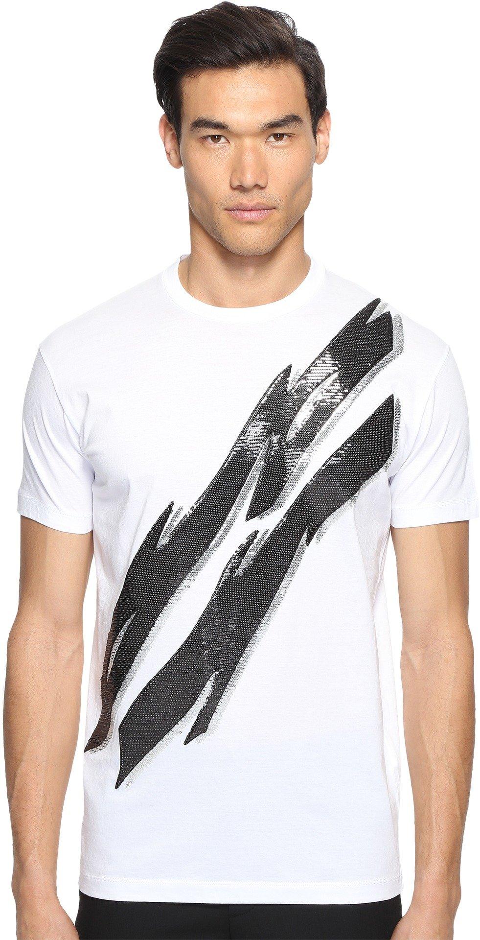 DSQUARED2  Men's Glam Rock Lightning Bolt T-Shirt White T-Shirt