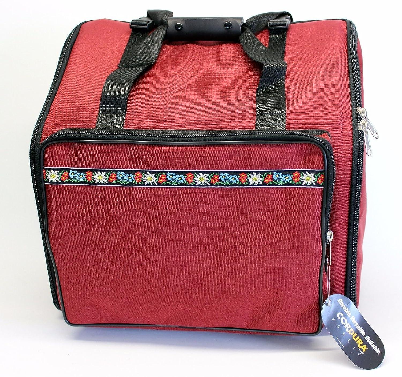 Steirische Harmonika Tasche Rucksack DELUXE-PRO Edelweiss Rot 4-reihig Alpenland