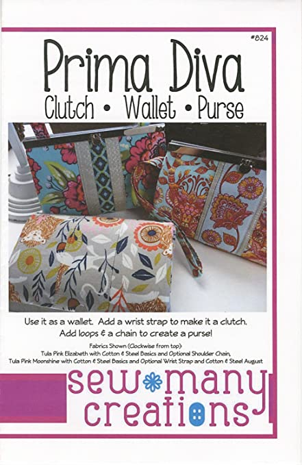 Amazon.com: Prima Diva: Clutch - Wallet - Purse - Sewing Pattern ...