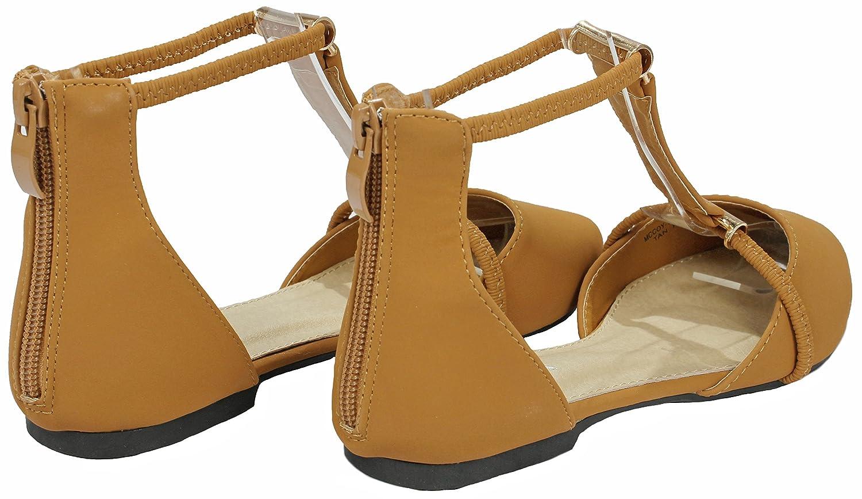 JJF Shoes Women's Chic Elastic T-Strap Comfort Nubuck Pointed-Toe Back Zip Comfort T-Strap Loafer Ballet Dress Flats B07B1S4YL2 8 B(M) US|Tan 31f707