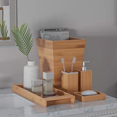 Lavish Home Bamboo Bath Accessories-5-Piece Set Natural Wood Tray Lotion Dispenser, Soap Dish, Toothbrush Holder, Wastebasket-Bathroom and Vanity