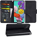 Arae Case for Samsung Galaxy A51 PU Leather Wallet Case Cover [Stand Feature] with Wrist Strap and [4-Slots] ID&Credit Cards