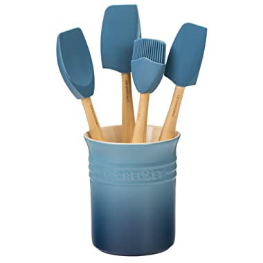 Le Creuset of America Craft Series 5Piece Utensil Set with Crock - Marine