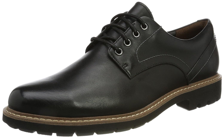 Clarks Batcombe Hall, Zapatos de Cordones Derby para Hombre 41.5 EU|Negro (Black Leather -)