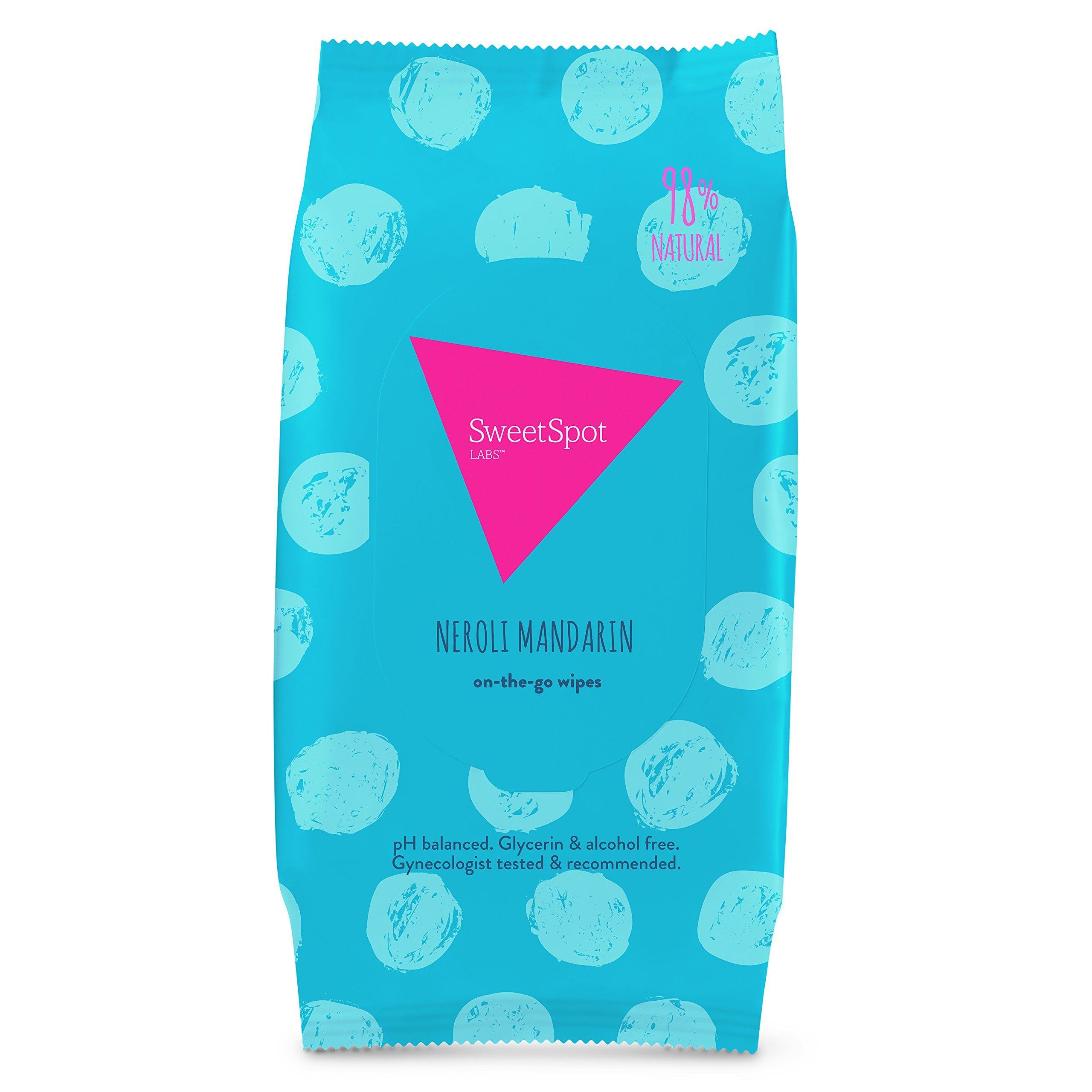 SweetSpot Labs Natural, pH Balanced, Personal Gentle Body Wipes, Neroli Mandarin, 30