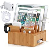 Pezin & Hulin Bamboo Charging Station for Multiple Devices (Included 5 Port USB Charger, 5 Pack Cables, SmartWatch & Earbuds