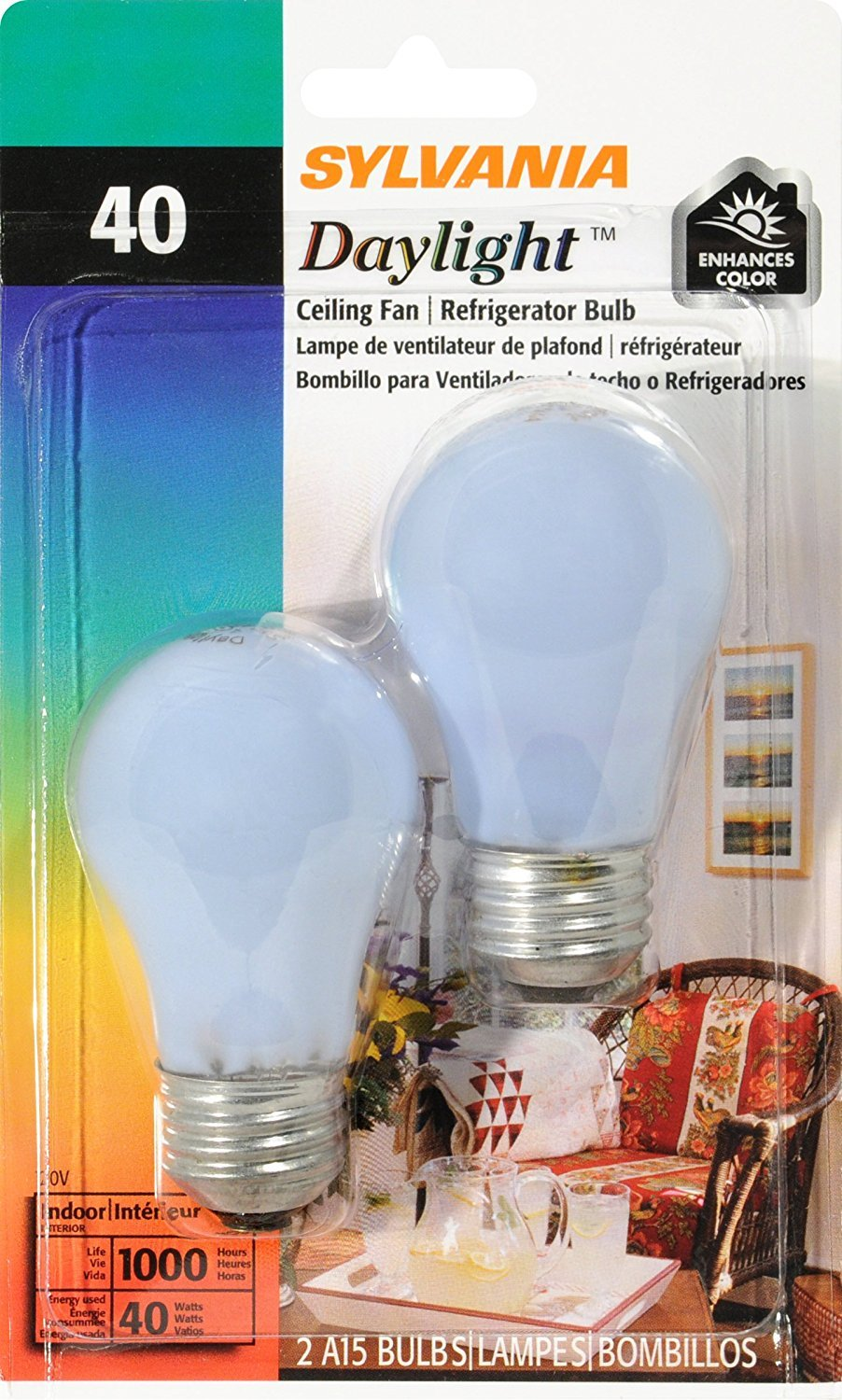 SYLVANIA Home Lighting 10181 Incandesent Bulb, A15-40W-2850K, Medium Base, Pack of 2