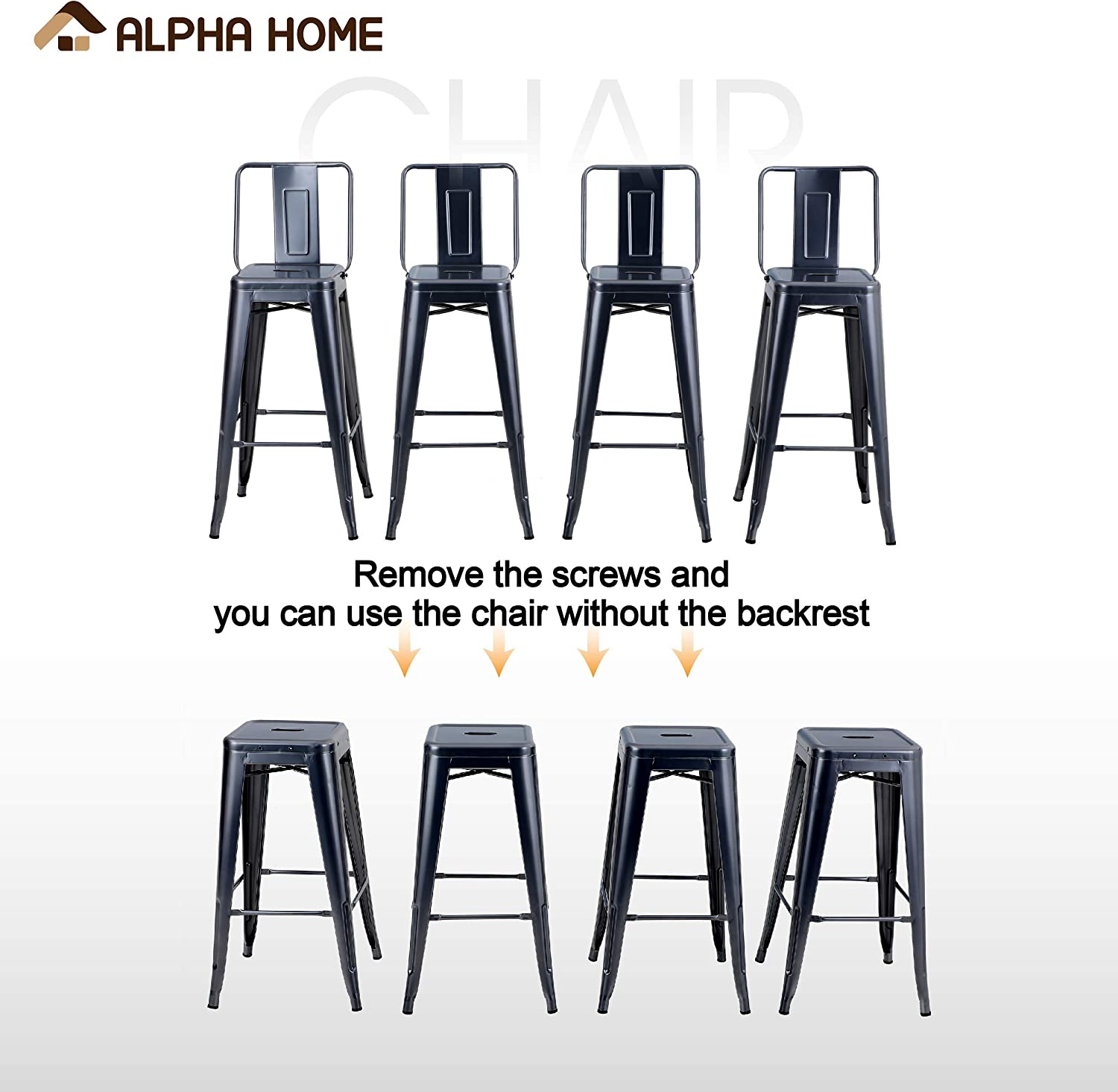 Matte Black Alpha Home Metal Bar Stool 30 Inches Counter Height Stools Set Of 4 With Low Back Bar Chair For Indoor Outdoor Kitchen Weight Capacity 350 Lb Patio Furniture Accessories Patio