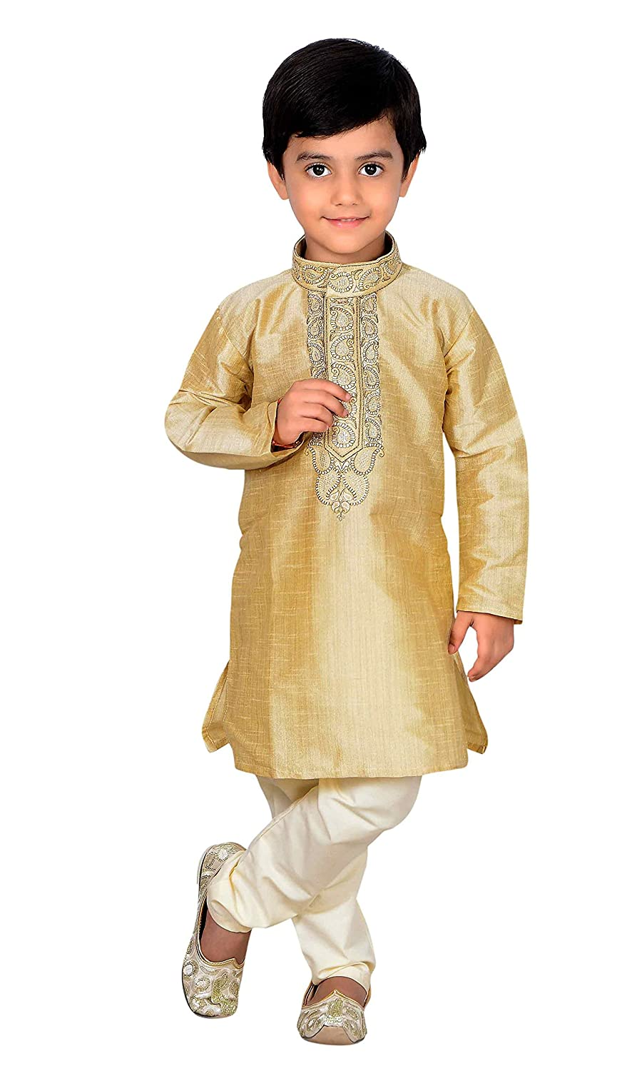 Gold Indian Pakistani Boys Sherwani kids Kurta pajama Bollywood party outfit 869 Gold Kurta Set - 869
