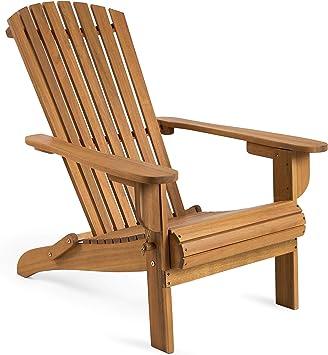 Jardin en Huilé Bois VonHaus Adirondack Meuble – Chaise d'Extérieur Pliante d'Acacia R54AL3jq