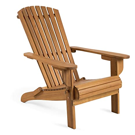 Vonhaus Folding Adirondack Chair Outdoor Garden Furniture Made From Acacia Hardwood With Oiled Finish
