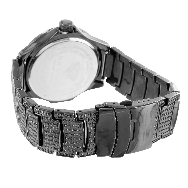 Amazon.com: Mens Stylish Analog Stainless Steel Back Ice Mania Techno Kc Diamond Black Watch: Watches