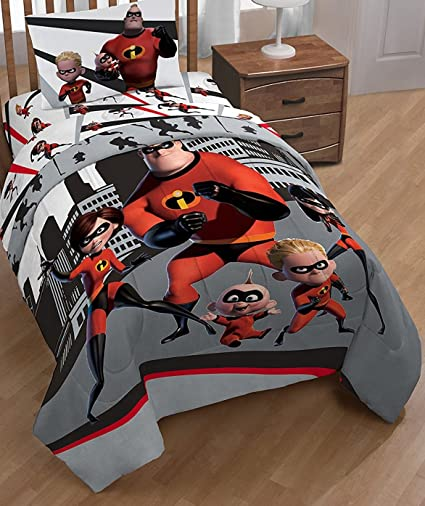 Disney Pixar Incredibles 2 Comforter And Sheets 4 Pc Bedding Set (Twin Size)