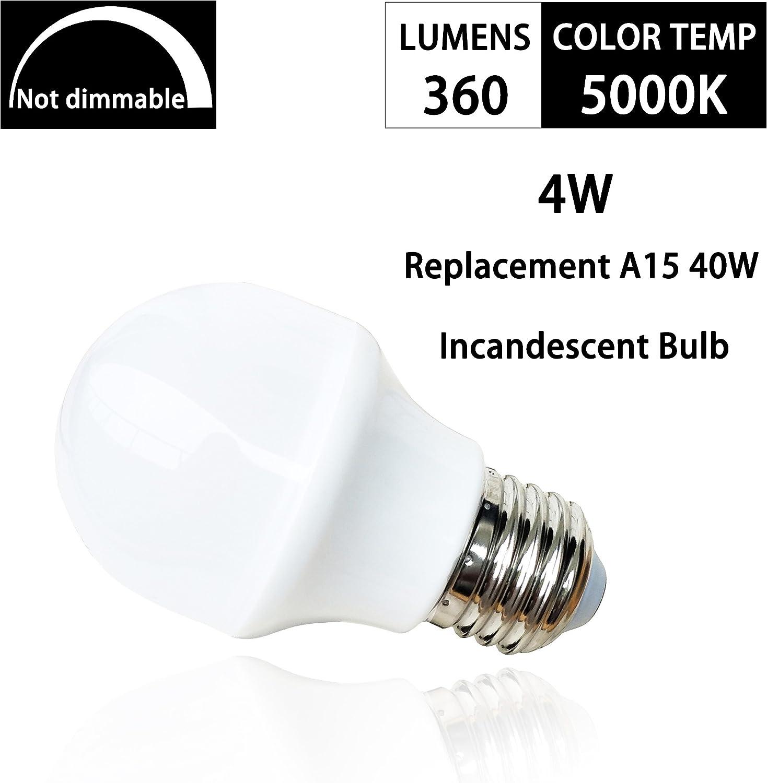 40Watt Halogen Equivalent,5000K Daylight White,E26 Medium Base A15 Appliance Bulb,360Lumens,4W Non Dimmable G45 Light Bulbs for Ceiling Fan A15 LED Light Bulbs Fridge Refrigerator Bulb-6 Pack