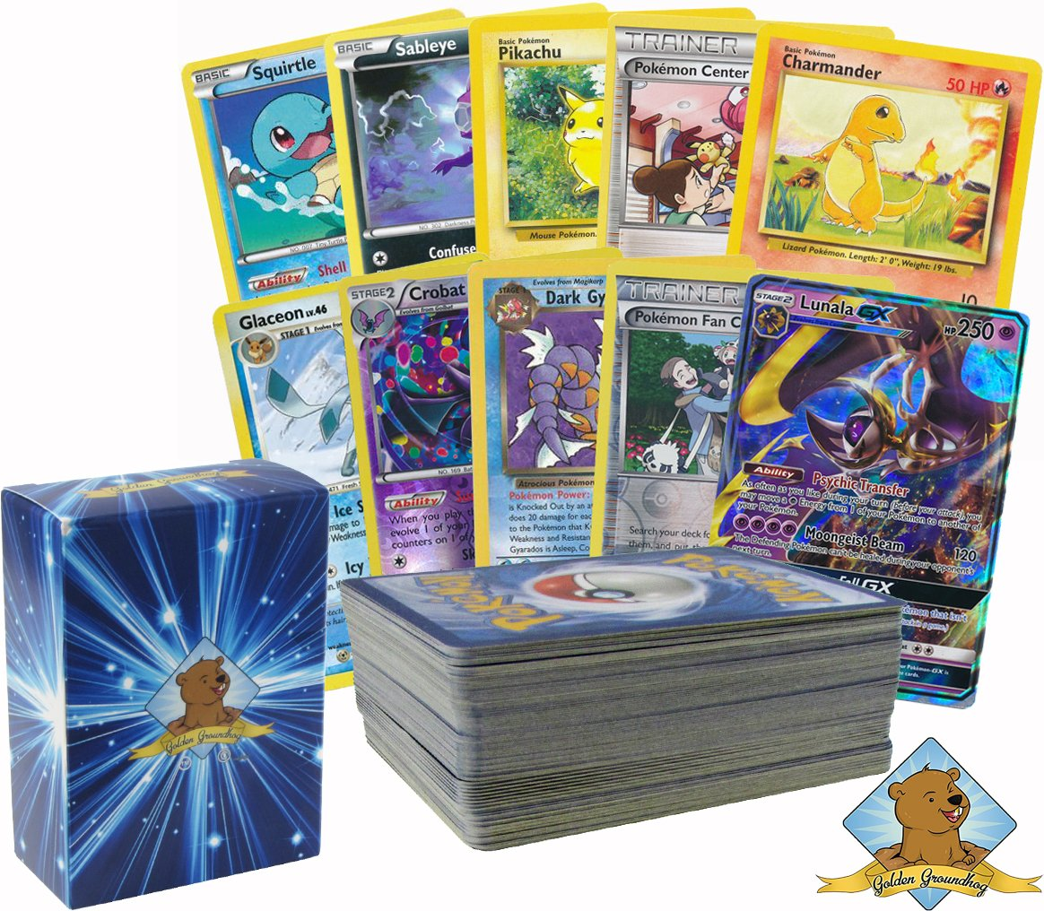 Pokemon 100 Card Lot Featuring Rares, Foils and 1 GX! Includes 1 50ct Pack of Pokemon Sleeves! By Golden Groundhog.