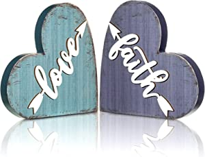 Jetec 2 Pieces Rustic Wood Home Sign Wood Love Sign Faith Sign Heart-Shaped Wood Table Centerpiece Family Decor Sign for Home Kitchen Living Room Decor