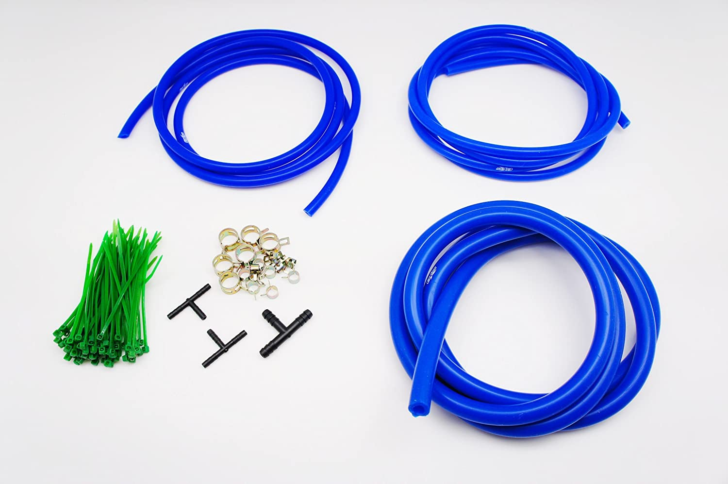 Autobahn88 Engine Room Silicone Vacuum Hose Dress Up DIY Kit, Fit All Models of Ford (Blue)
