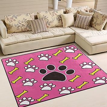 Amazon.com: ALAZA Cartoon Dog Paw Print Bone Pink Area Rug Rugs for ...