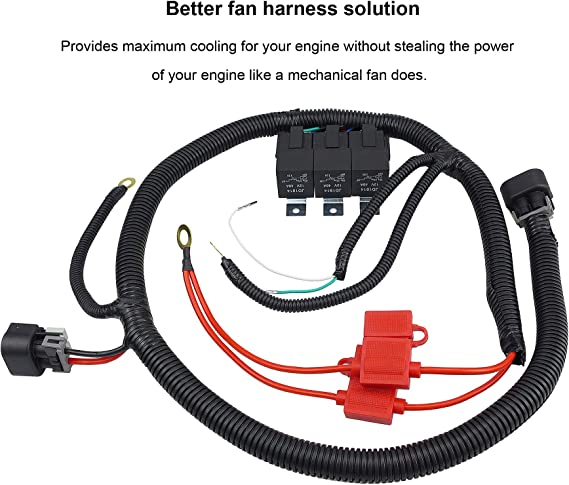 WonVon Electric Cooling Fan Wire Harness Kit,Wiring Harness Tool Fits for Dual Electric Fan Dual Electric Fan Upgrade Wiring Harness for 1999-2006 ECU Control 7L5533A226T