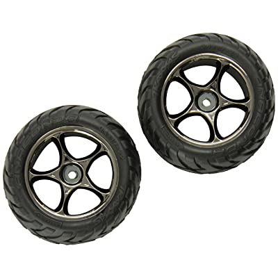 "Traxxas 2478A Anaconda Tires Pre-Glued on Tracer 2.2"" Black-Chrome Wheels (rear): Toys & Games"